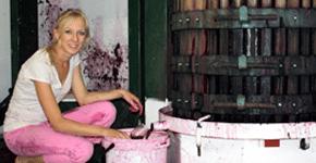 Clos Malverne wines a virtual reality Clos Malverne winemaker Suzanne Coetzee with basket press2