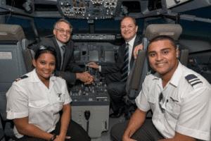 Tammy Smit, Erik Venter, John Barrett, Lance Temmers.  Comair launches Cadet Pilot Training Comair Pilot Training