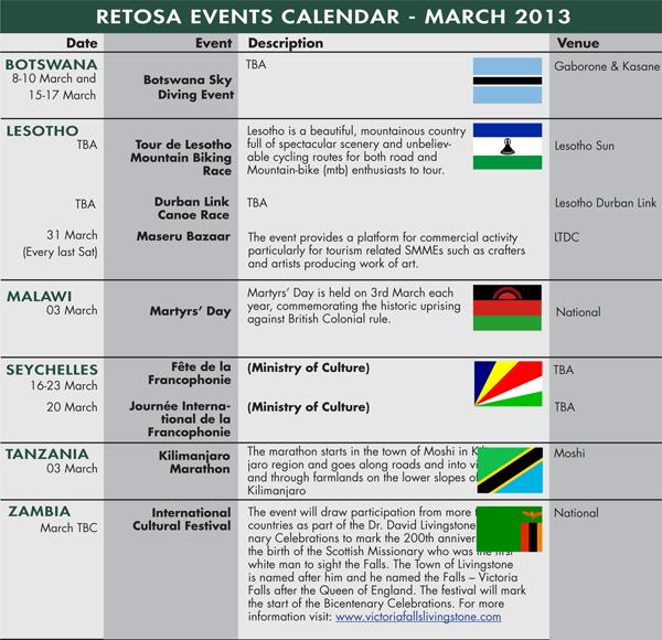 RETOSA Events Calendar - February 2013 mar13 retosa calendar march