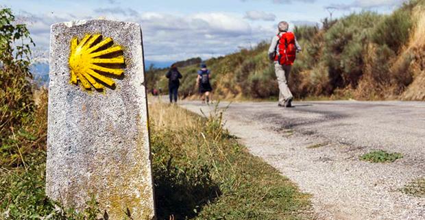 Hikers on the Camino de Santiago route