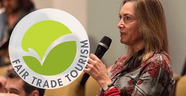 Jane Edge speaking at a Fair Trade Tourism presentation