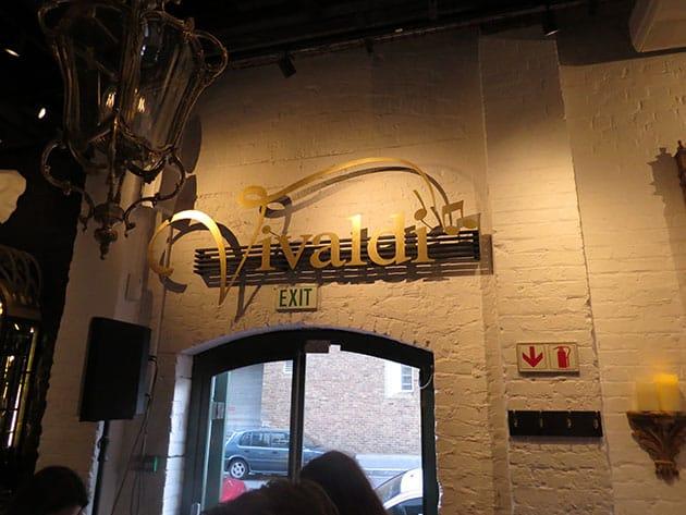 Vivaldi Restaurant interior signage