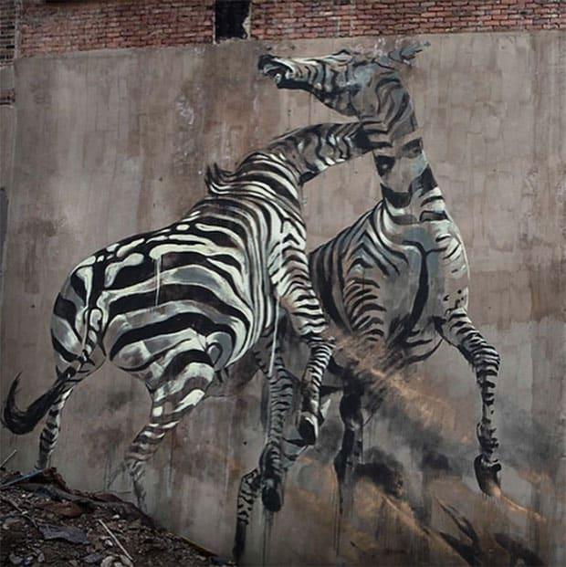 Graffiti of zebra in Johannesburg by street artist Faith47