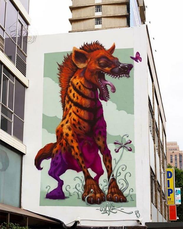 Hyena Street Art in Johannesburg by Malikarts