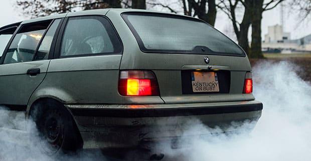 Car with smoke underneath