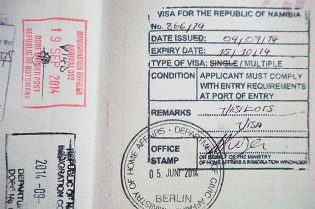 Namibia visa stamp in passport