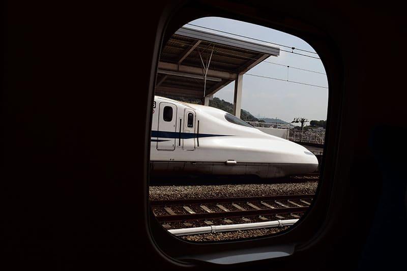 Japan's Chuo Shinkansen train viewed from a train window
