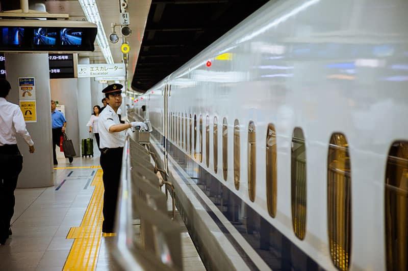 A train conductor at Japan's Tokaido Shinkansen line