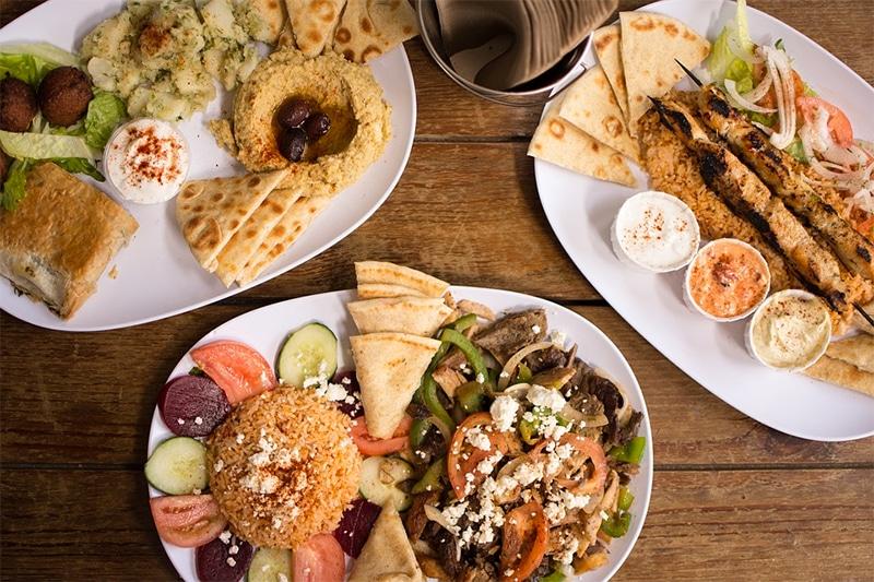 Typical Greek food platters