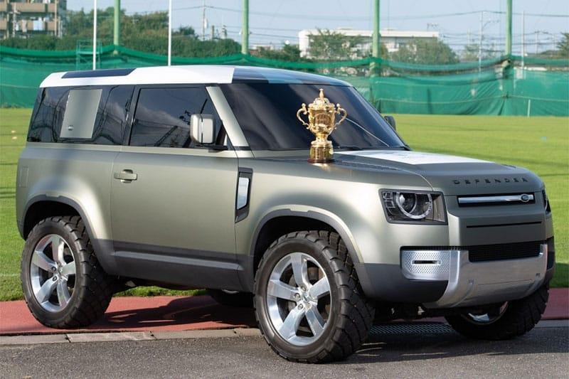 The new Land Rover Defender with Webb Ellis Trophy