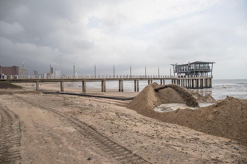 Durban beach sand pumping