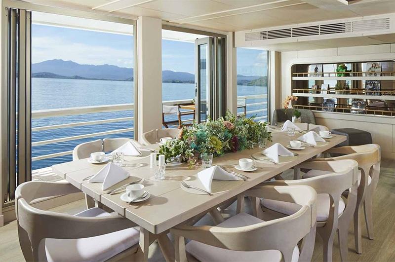 Ayana liveaboard boat dining room