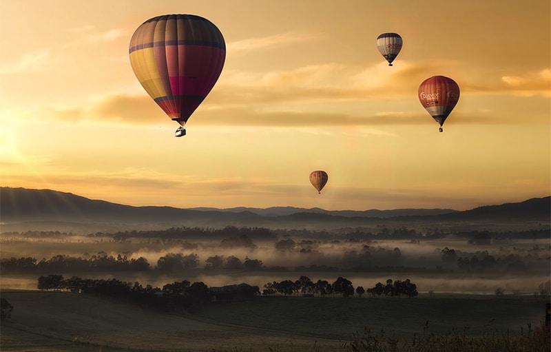 Hot Air Balloons against morning sky