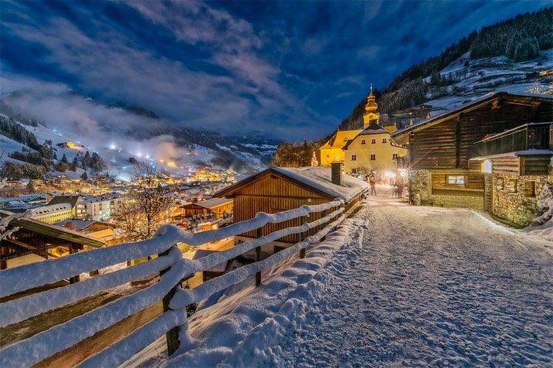 Snow on road Salzburg, Austria