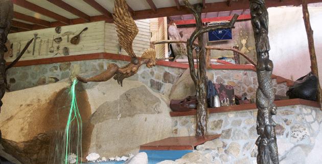 Interior view of Antonio Filippin's home in Mahe, Seychelles