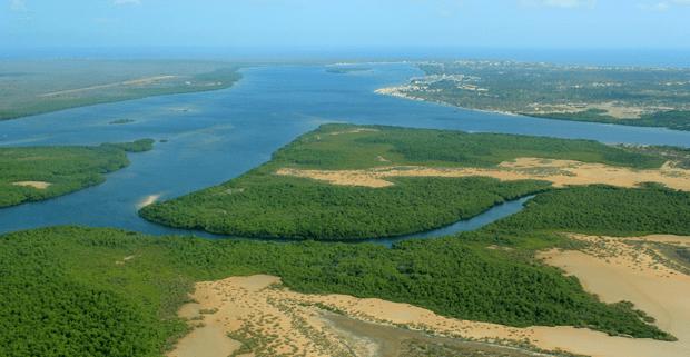 An aerial view over Manda Island, Kenya