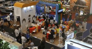 Exhibitors at a travel trade show